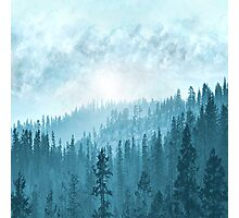 Here Comes The Sun - Misty Forest - Turquoise Photographic Print