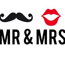 Mr and Mrs, text design with mustache and red lips by beakraus