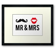 Mr and Mrs, text design with mustache and red lips Framed Print