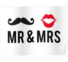 Mr and Mrs, text design with mustache and red lips Poster