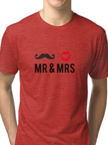 Mr and Mrs, text design with mustache and red lips Tri-blend T-Shirt