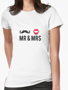 Mr and Mrs, text design with mustache and red lips Womens Fitted T-Shirt