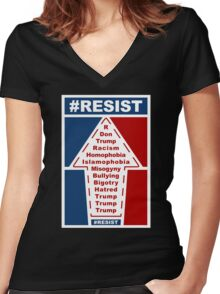 Resist Hashtag Women's Fitted V-Neck T-Shirt