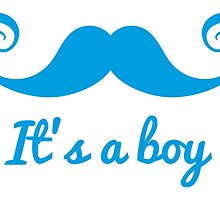 it's a boy text with blue mustache for baby shower by beakraus