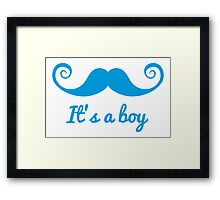 it's a boy text with blue mustache for baby shower Framed Print