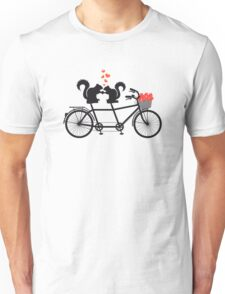 tandem bicycle with squirrels Unisex T-Shirt
