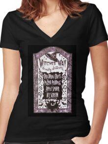 Witch Dessert Menu Halloween Women's Fitted V-Neck T-Shirt