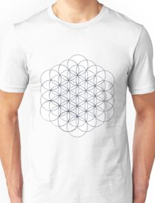 Flower of Life, drawing, black and white contours Unisex T-Shirt