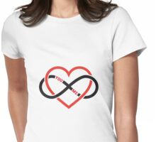 never ending love, red heart with infinity sign Womens Fitted T-Shirt