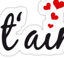 Je t'aime, I love you, French word art with red hearts Sticker