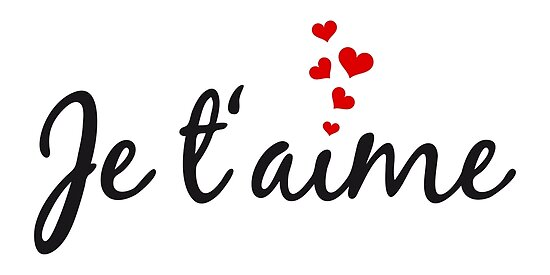 Quot Je T Aime I Love You French Word Art With Red Hearts