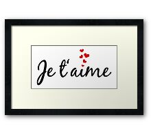Je t'aime, I love you, French word art with red hearts Framed Print
