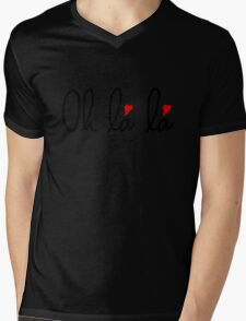 Oh la la, French word art with red hearts Mens V-Neck T-Shirt