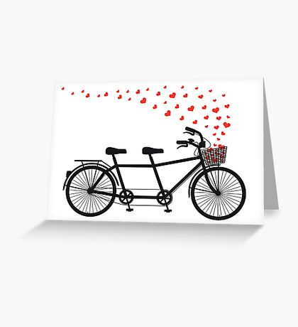 tandem bicycle and flying red hearts for Valentine's day, wedding invitation Greeting Card