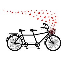 tandem bicycle and flying red hearts for Valentine's day, wedding invitation Photographic Print