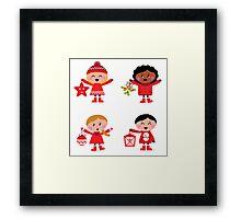 New in shop : Kids christmas artwork, vintage red Framed Print