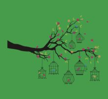 tree branch with birds and birdcages One Piece - Short Sleeve