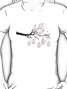 tree branch with birds and birdcages T-Shirt