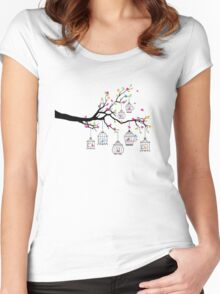 tree branch with birds and birdcages Women's Fitted Scoop T-Shirt