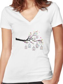 tree branch with birds and birdcages Women's Fitted V-Neck T-Shirt