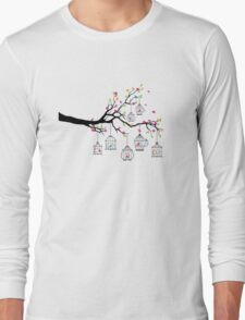 tree branch with birds and birdcages Long Sleeve T-Shirt