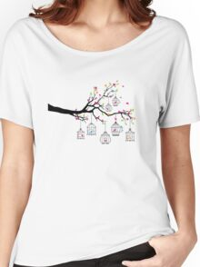 tree branch with birds and birdcages Women's Relaxed Fit T-Shirt