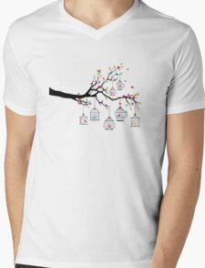 tree branch with birds and birdcages Mens V-Neck T-Shirt