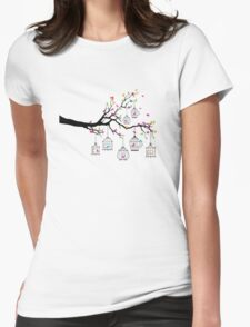 tree branch with birds and birdcages Womens Fitted T-Shirt