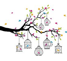tree branch with birds and birdcages by beakraus
