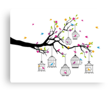 tree branch with birds and birdcages Canvas Print