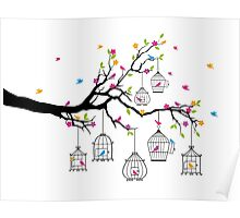 tree branch with birds and birdcages Poster