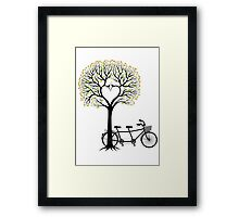 Heart tree with birds and tandem bicycle  Framed Print