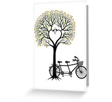 Heart tree with birds and tandem bicycle  Greeting Card