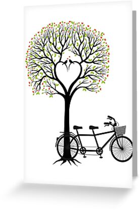 Heart wedding tree with birds and tandem bicycle  by beakraus