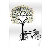Heart tree with birds and tandem bicycle  Poster