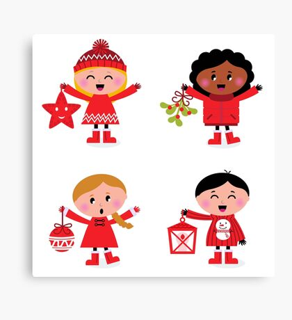 Winter happy kids collection : red Canvas Print