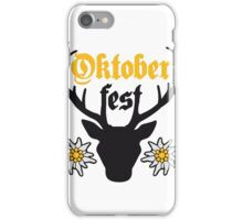 edelweiss blumen text hirsch geweih hörner oktoberfest silhouette schwarz shirt cool design  iPhone Case/Skin