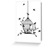 Free birds with open birdcage Greeting Card