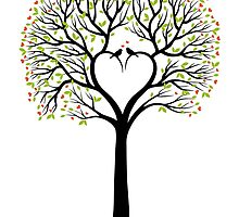 Love tree with heart shaped branches and birds by beakraus
