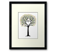 Love tree with heart shaped branches and birds Framed Print