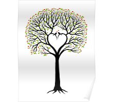 Love tree with heart shaped branches and birds Poster