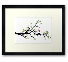Birds in love with red hearts on spring tree Framed Print