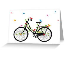 Old vintage bicycle with flowers and birds Greeting Card