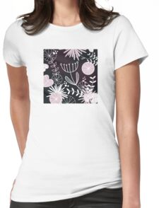 Retro background with vintage flowers : Black Womens Fitted T-Shirt