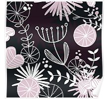 Retro background with vintage flowers : Black Poster