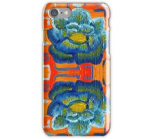 Tiled Orange and Blue Floral Oil Painting iPhone Case/Skin