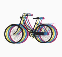 Colorful old bicycle silhouette One Piece - Short Sleeve