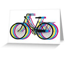 Colorful old bicycle silhouette Greeting Card
