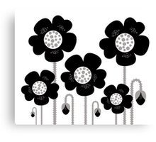 New black and white stylish floral art. BW, monochrome Canvas Print