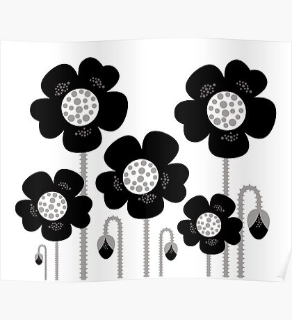 New black and white stylish floral art. BW, monochrome Poster